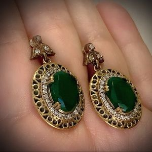 EMERALD DANGLE POST EARRINGS Solid 925 Silver/Gold